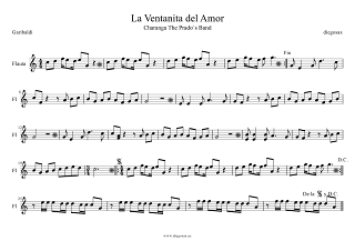 Partitura de La Ventanita del Amor de Garibaldi para Flauta Travesera, flauta dulce y flauta de pico La Ventanita del Amor Partitura para Charanga de Garibaldi Score Recorder and Flute Sheet Musi. También sirve para Oboe.