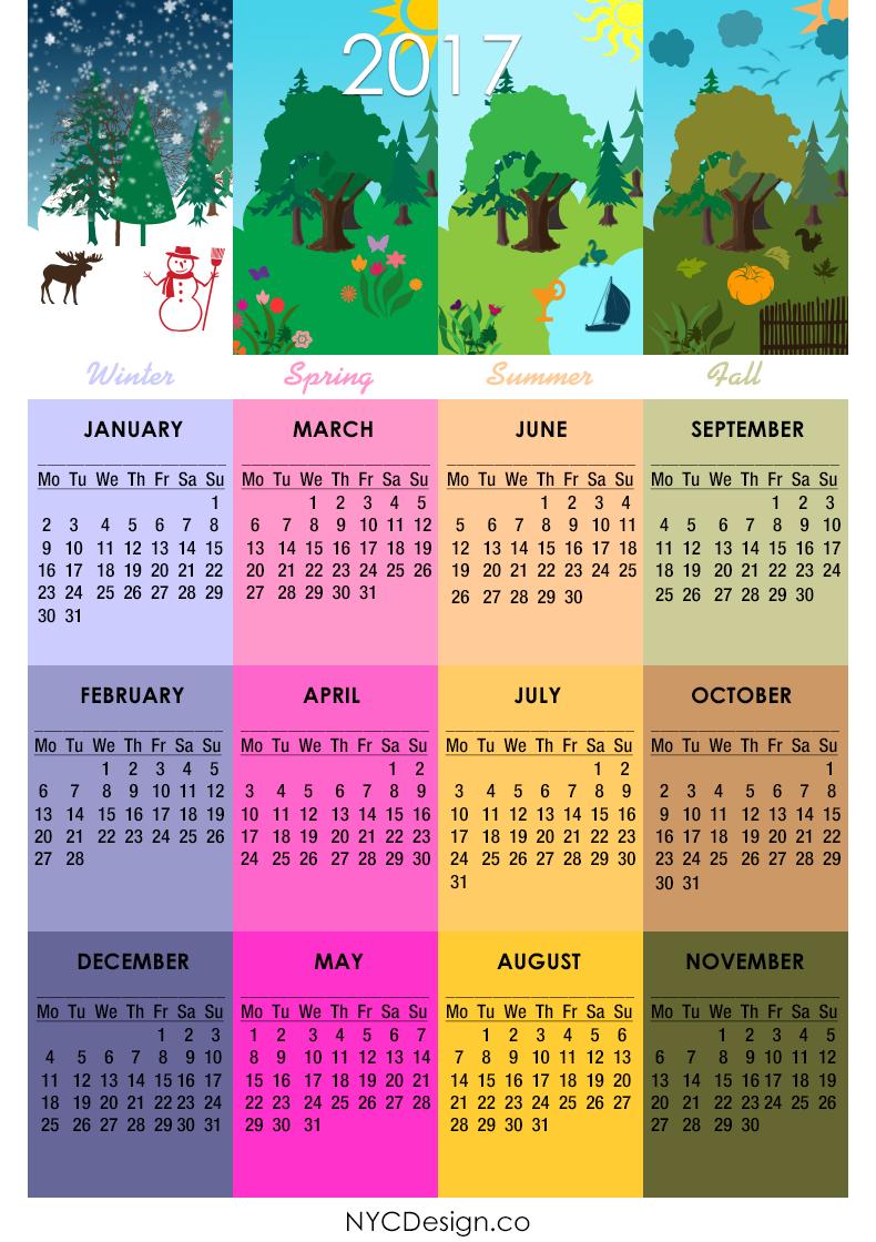 New York Web Design Studio, New York, NY: 2017 Calendar - Printable - 4 Seaso...