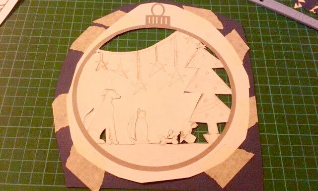 Christmas papercut in progress