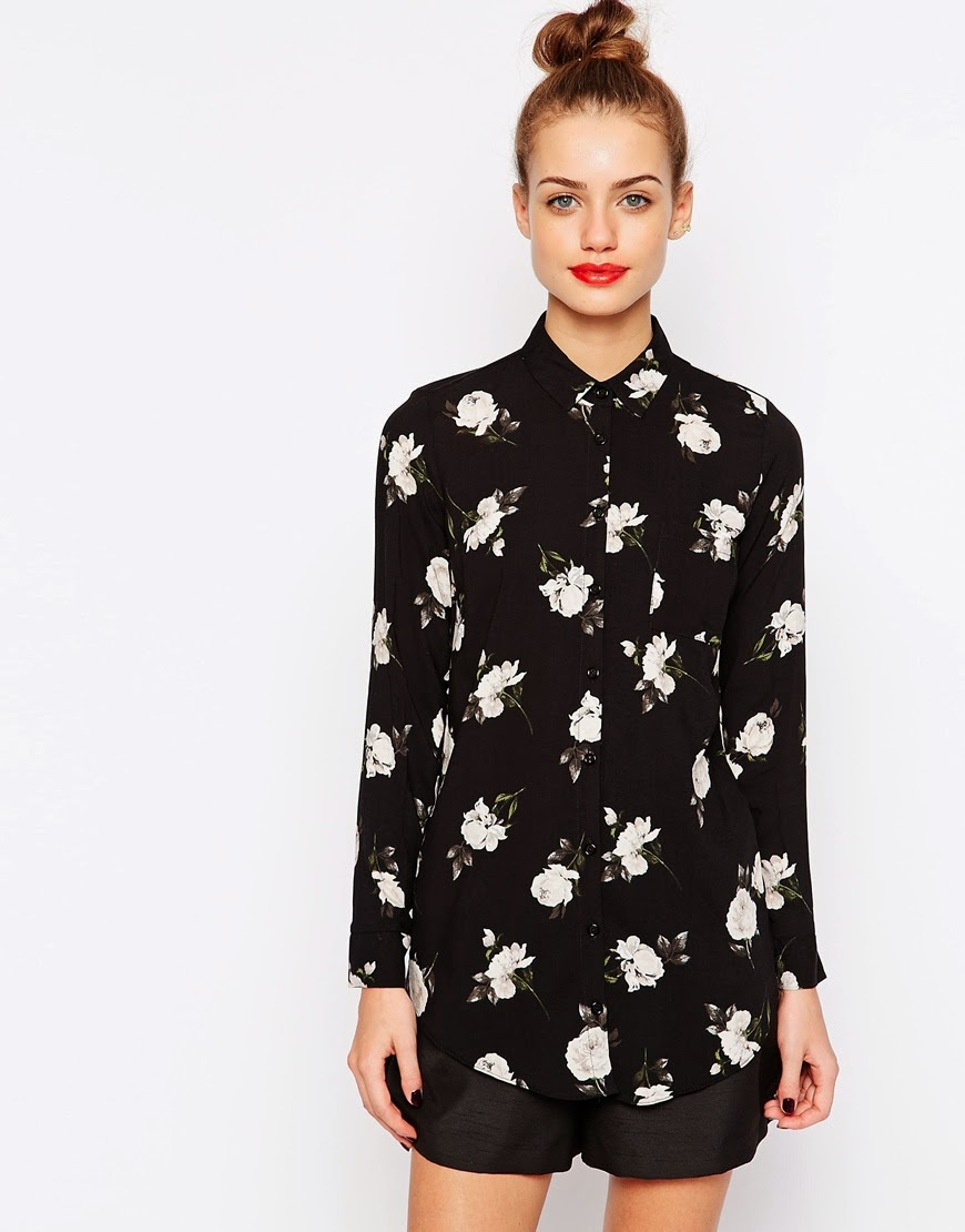 new look black white flower shirt,