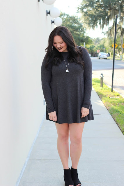 fall fashion, old navy long sleeve shift dress, gray vest, booties autumn look