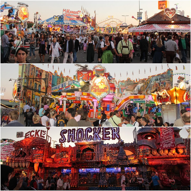 Many different amusement rides and horror houses to visit at Octoberfest FunFair Festival in Munich, Germany