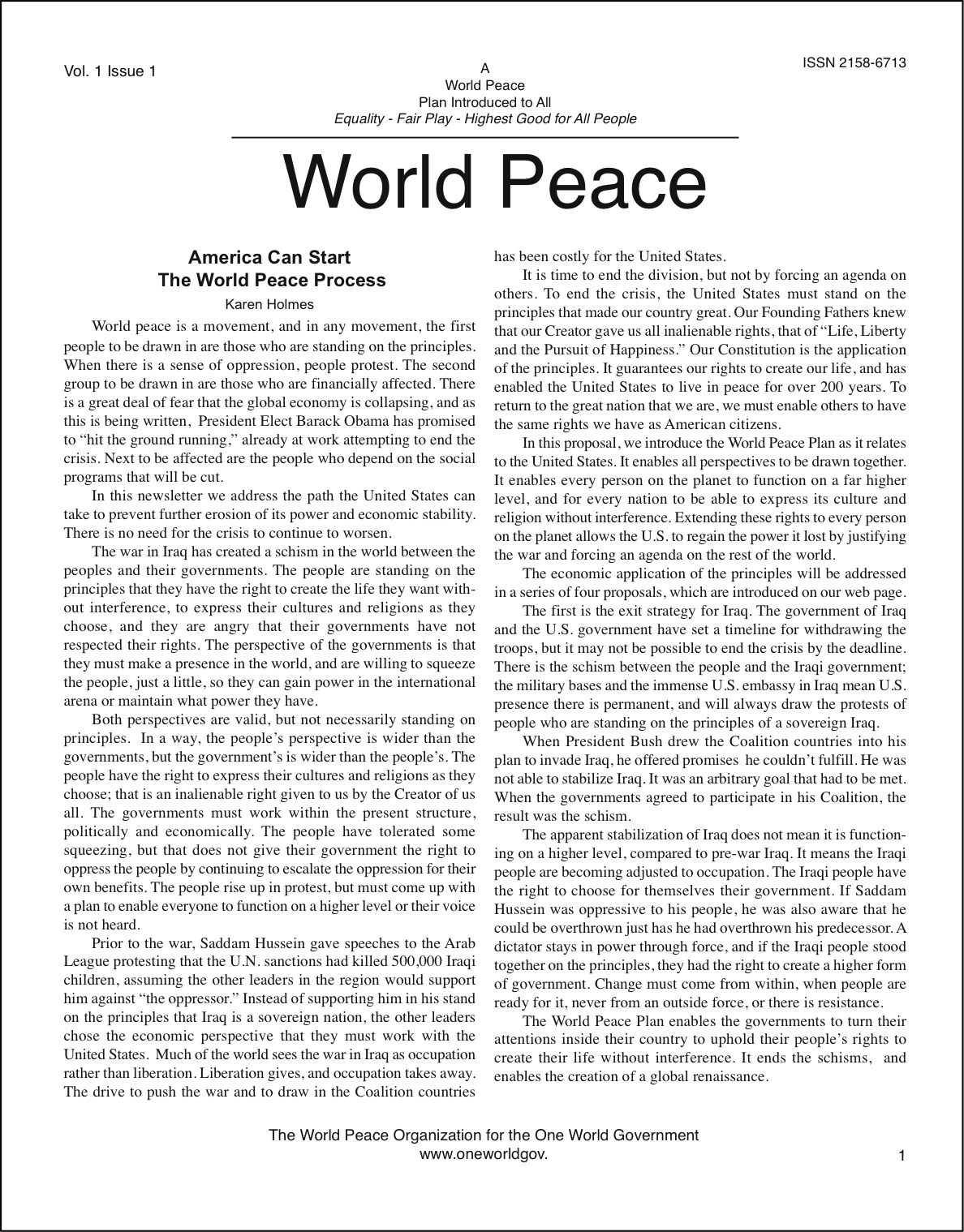 """World Peace"" newsletter"
