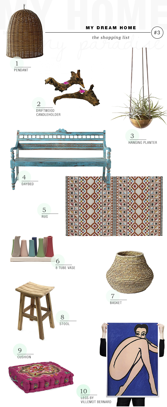Shopping list for a bohemian county home by My Paradissi