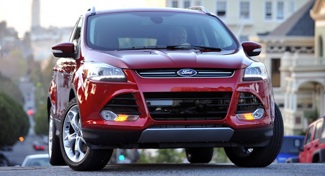 Red 2013 Ford Escape front view on hill in San Francisco