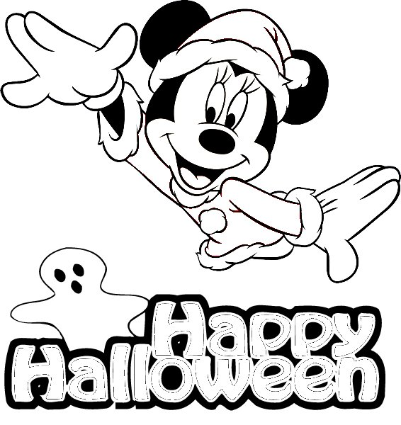 Micky Mouse Happy Halloween Coloring Pages title=