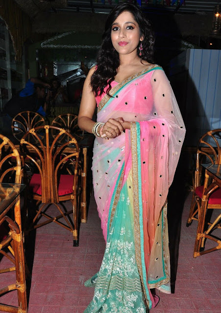 Rashmi Gautam Latest Hot Cleveage Transparent Spicy Pink Saree