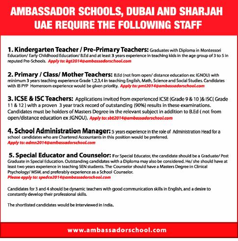 Ambassador Schools, Dubai & Sarjah UAE Jobs | Teacher ...