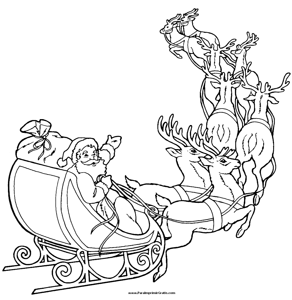 Santa sleigh and reindeer coloring page - crazywidow.info