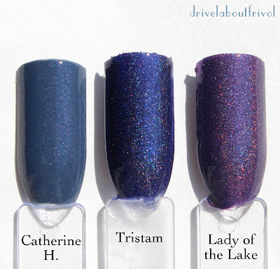 nail polish swatches Rescue Beauty Lounge Catherine H, A-England Tristam, Lady of the Lake