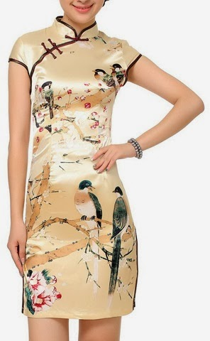 Short Sleeve Bird Print Champagne Gold Cheongsam
