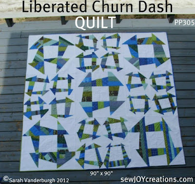 Liberated Churn Dash quilt cover pic