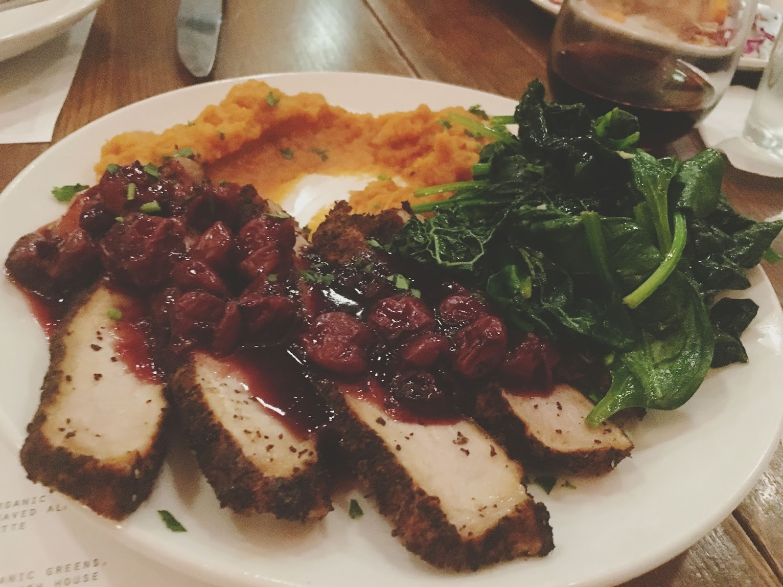 coffee crusted pork loin at dish society in houston