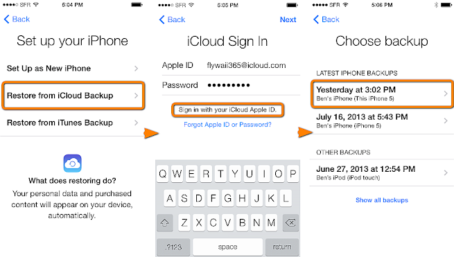 Recover iPhone Contacts via iCloud