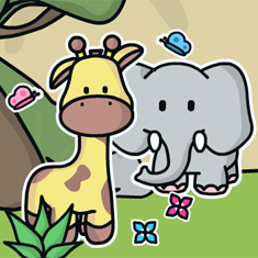 Desenho de Girafa e Elefante colorido