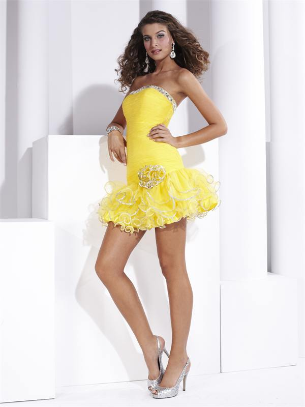 Yellow Short Cocktail Dresses 43