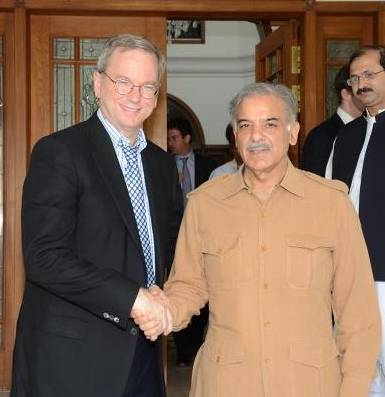 Google's Executive Chairman Eric Schmidt with Chief Minister of Punjab Mian Shahbaz Sharif