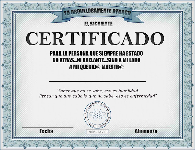 diploma para mi maestra en psd