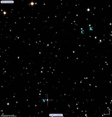 الصورة التي التقطها د. أحمد عصام بتليسكوب مرصد القطامية  توضح النجمة النابضة( V )