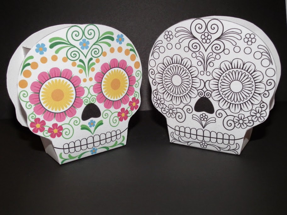 Mexican Skulls Free Printable Boxes.
