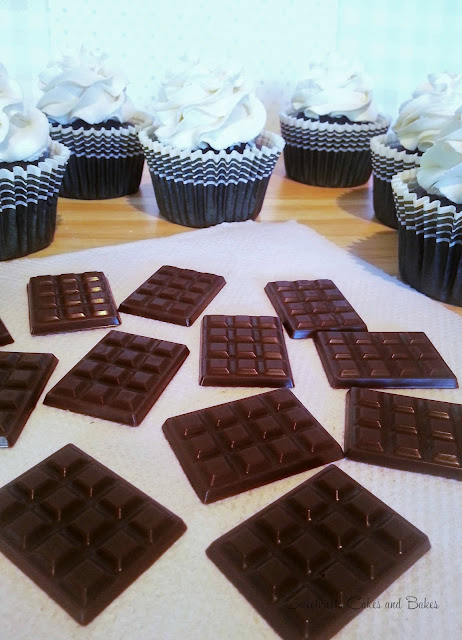 Double chocolate cupcakes mini chocolate bars