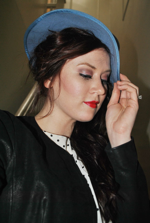 mollie booth parks, polka dot dress, blue hat, daily outfit, red lipstick, pink eyeshadow