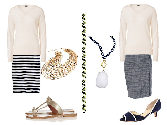 a white v-neck sweater with a striped skirt and gold accessories, or with a navy tweed skirt and coordinated accessories