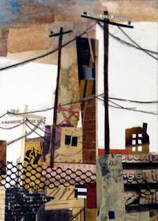 Urbanity by Susan K. Miller, award winner at National Collage Society 2012 Postcard Exhibit, Bellevue Art Museum