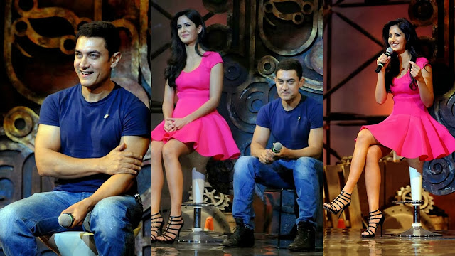 Dhoom 3 movie actors Aamir Khan and Katrina at music launch event