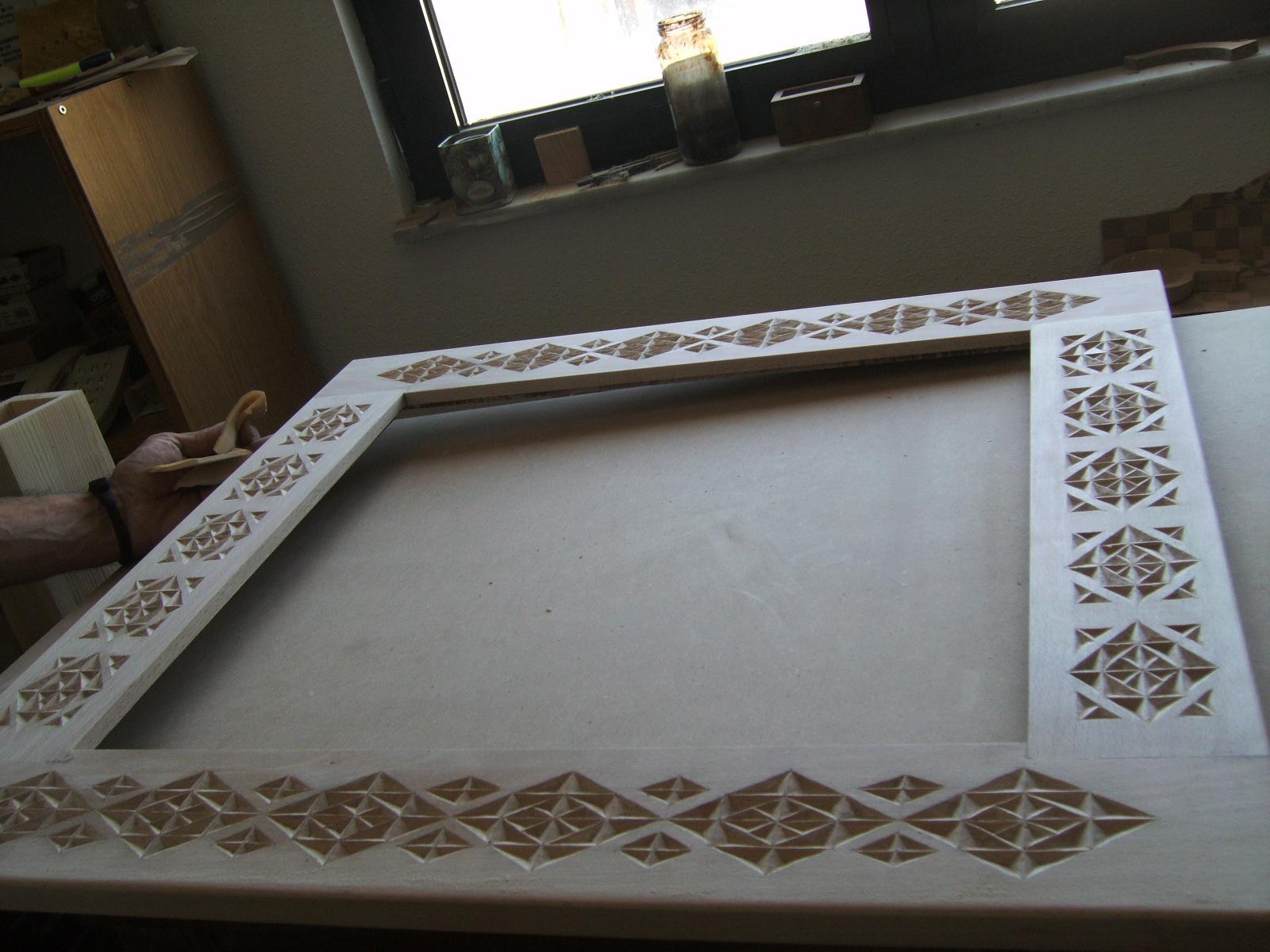 Artesan a tope y cu a espejo grande madera tallada for Espejos tallados
