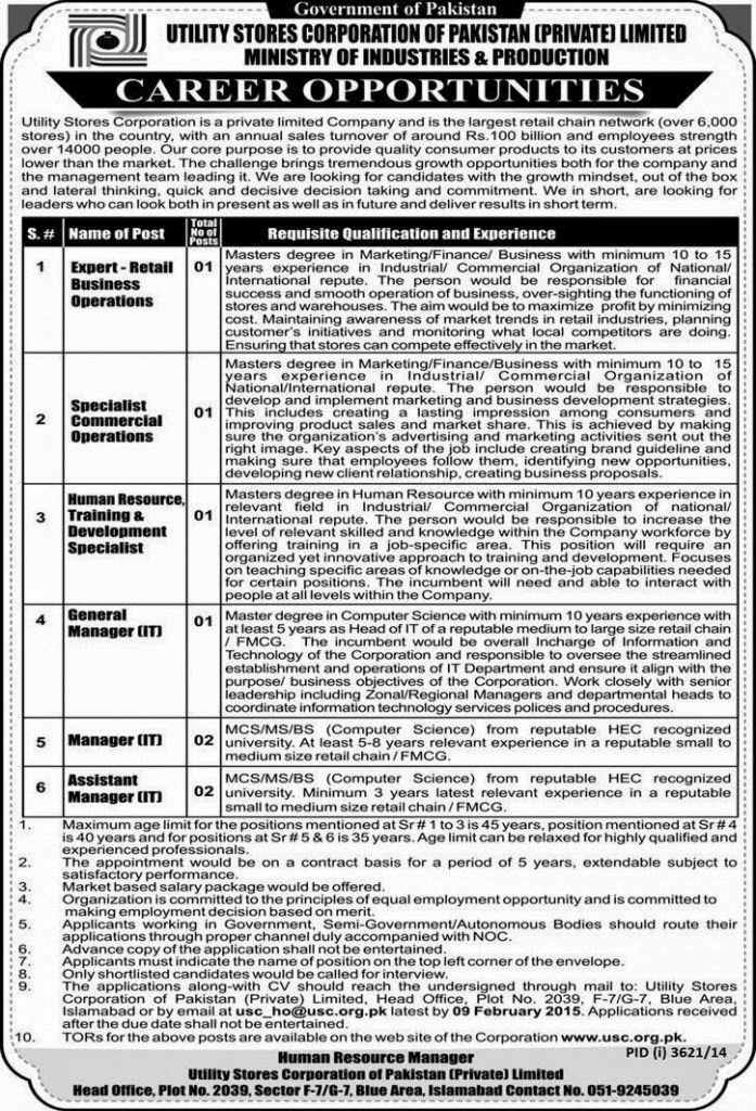 Jobs in Utility Stores Corporation of Pakistan Islamabad 2015