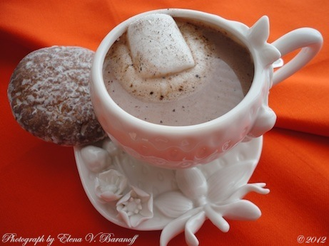 Elena V. Baranoff © 2012 - Christmas Hot Cocoa With Marshmallow And Gingerbread Cookie - Fine Artist Elena Baranoff - Artist Elena Baranoff - Master Elena Baranoff