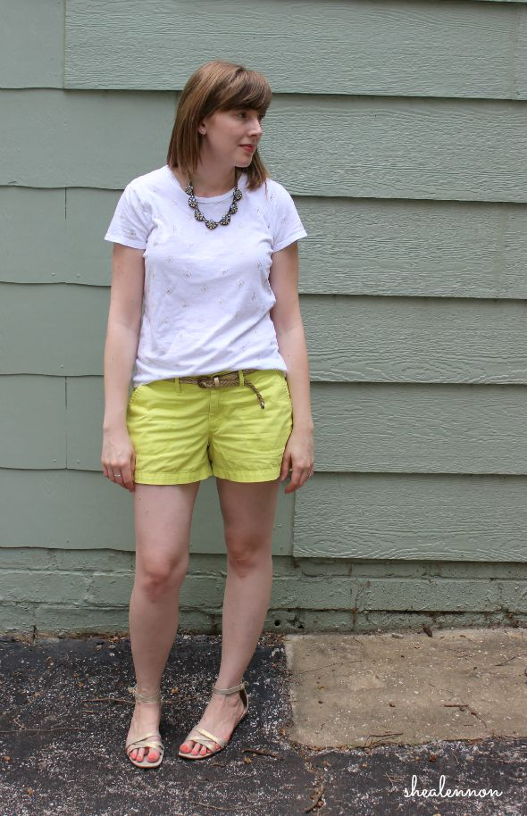 Neon yellow shorts with gold accents for summer | www.shealennon.com