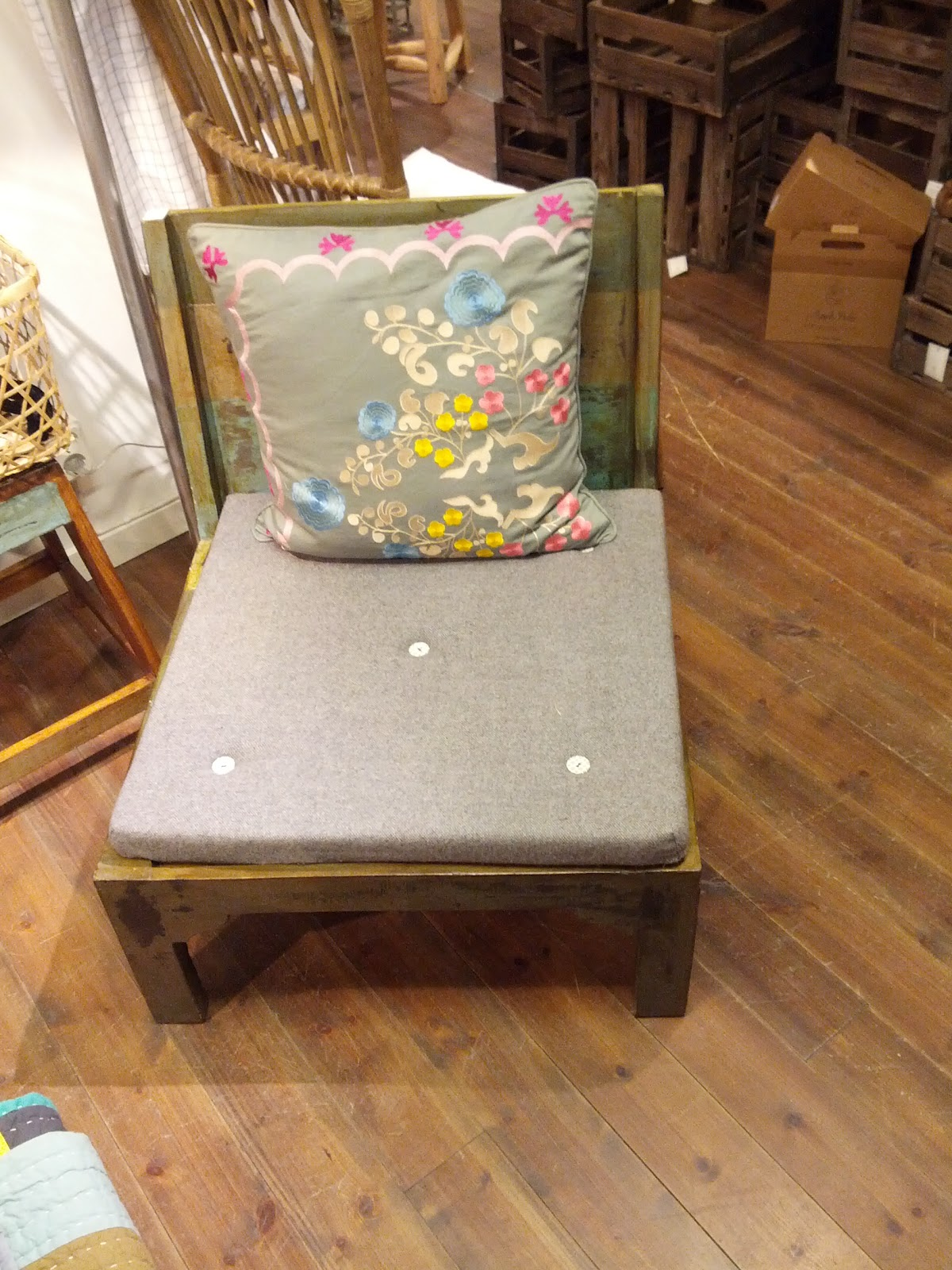 Simple wood chair that looks like Shabby Chic style in green/yellow  title=