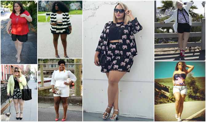 blogger plus size che indossano shorts