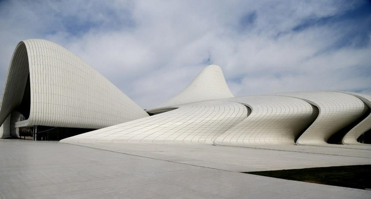 Heydar Aliyev Cultural Center by Zaha Hadid Architects from plaza