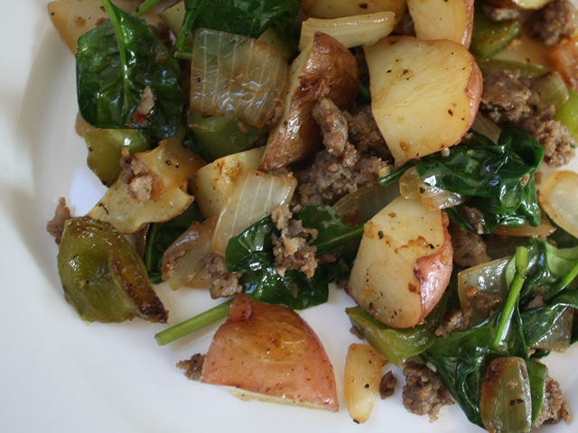Spinach and Potato Breakfast Hash recipe by Barefeet In The Kitchen