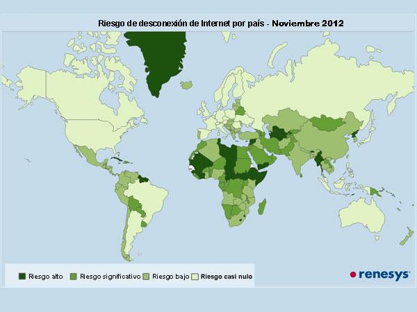 Riesgo de desconexión de internet por país 2012