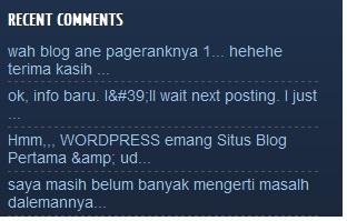 Cara dan tambah Menmpilkan Recent Comment