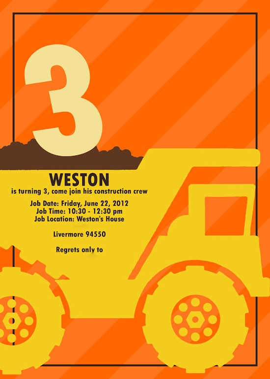 What a Ride Jadons Construction Themed 3rd Birthday Party – Dump Truck Party Invitations
