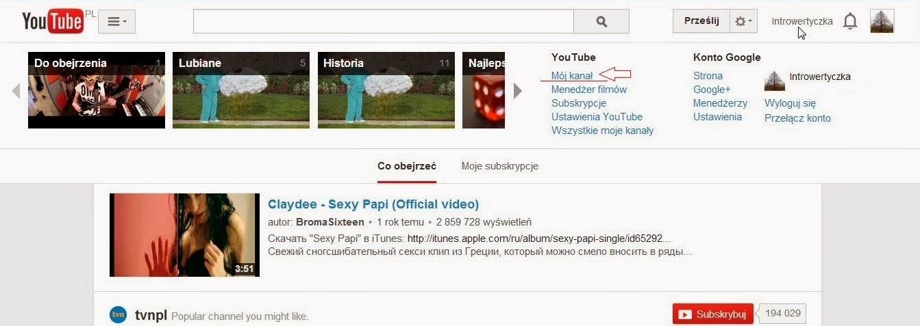 Youtube - Mój kanał