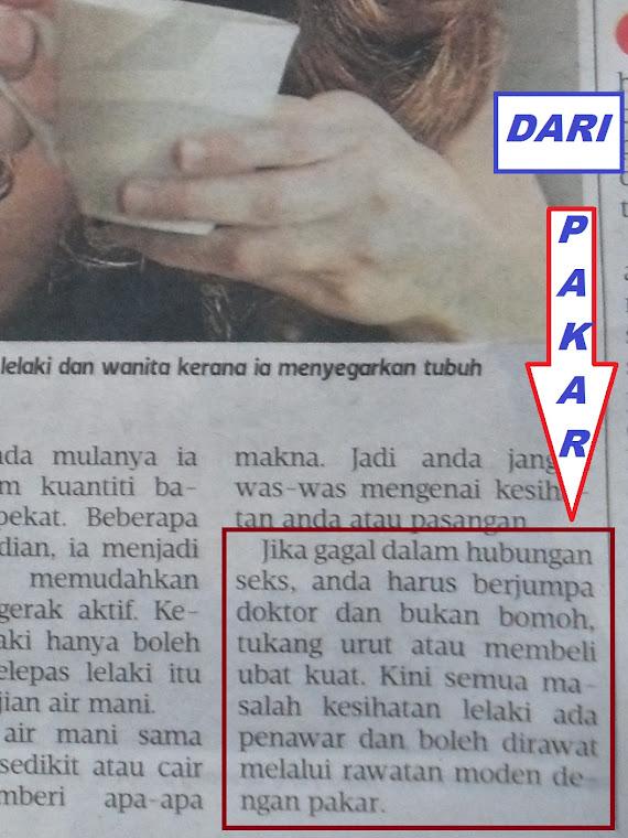 Isu sek suami isteri rujuk DR Pakar bukan bomoh,tukang urut atau beli ubat kuat.Metro Ahad 3Mac2013