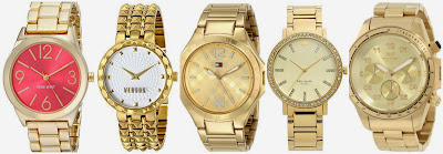 Nine West Pink Sunray Dial Gold Tone Bracelet Watch $29.99 (regular $49.00)  Versus by Versace SOD040014 Coral Gables Watch $57.59 (regular $295.00)  Tommy Hilfiger 1781385 Gold Tone Watch $88.70 (regular $145.00)  Kate Spade New York Gramercy Grand Pave Bezel Bracelet Watch $149.98 (regular $275.00)  Vestal ZR2009 KR-2 Brushed Gold Watch $159.09 (regular $300.00)