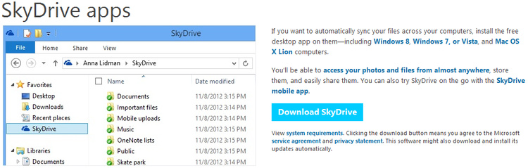 Microsoft SkyDrive Cloud Storage