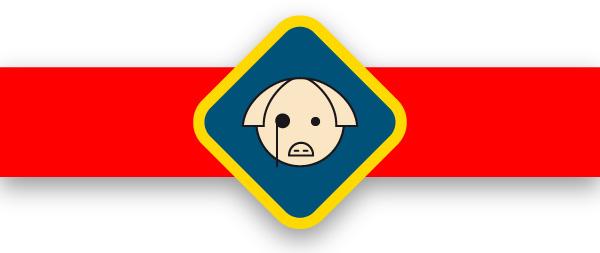marca antigua de Los Quijales, que consiste en un cerdo con monoculo ,vectorizada por Alejandro González