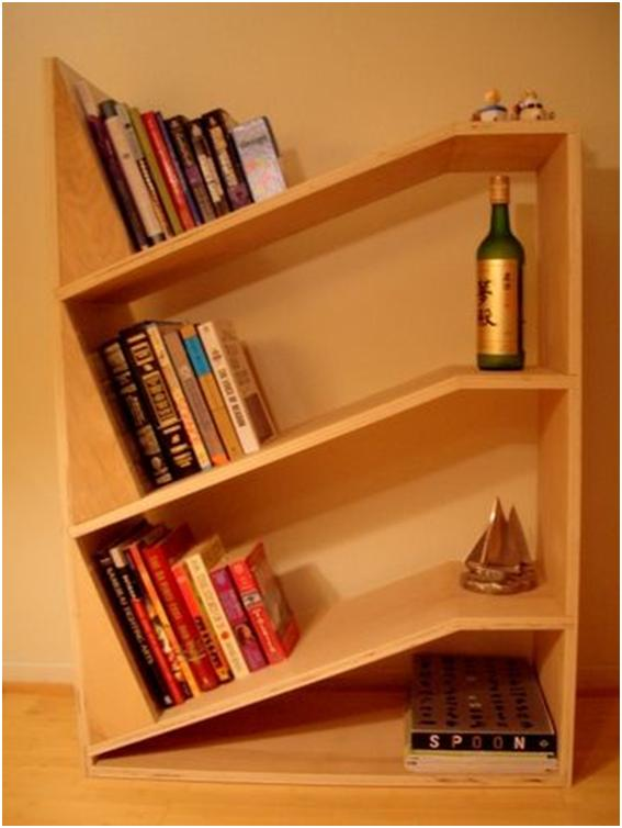 home design angled bookshelf design