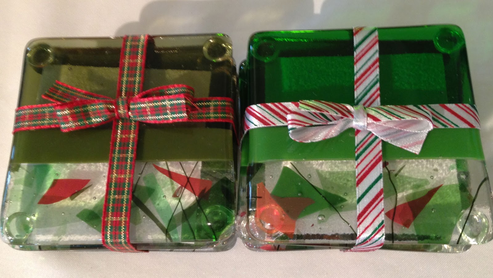 Glass decorations - Last Year I Made These Fused Glass Coasters In Red Which Is Still My Favorite But This Year I Expanded The Color Spectrum To Include An Olive And