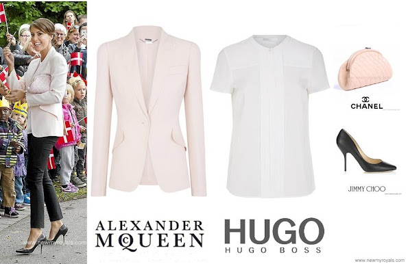 Alexander-McQueen Crepe Jacket and Hugo Boss Pleated Silk Shirt, black Jimmy Choo pump and Chanel Quilted Clutch Bag