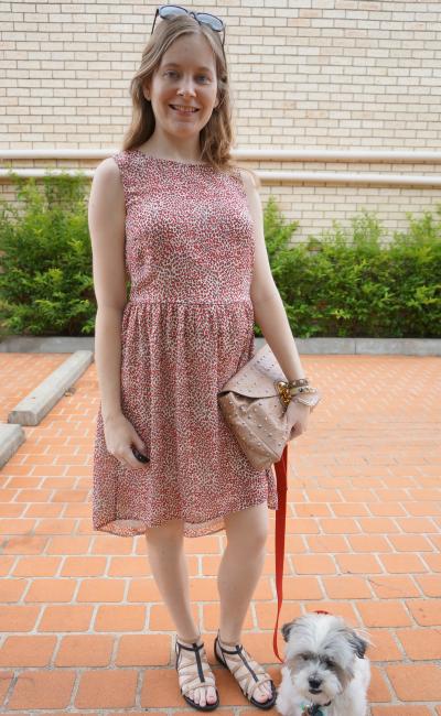 asos red dipped hem leopard print dress studded clutch and sandals australian summer