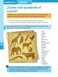 Apoyo Primaria Español 1er grado Bimestre V lección 18 ¿Cómo esta quedando el cuento?